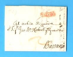Italië 1829 :  BRIEF/LETTRE 1829   TREVISO - BASSANO. GRIFFE :  TREVISO.  Ft. : 24,60 X 17,60 Cm. - 1. ...-1850 Vorphilatelie