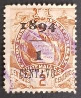 1894, Coat Of Arms Overprinted, Guatemala, Used - Guatemala