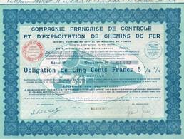 Obligation Ancienne - Compagnie Française De Controle Et D' Exploitation De Chemins De Fer  - Titre De 1933 -N°01.402 - Chemin De Fer & Tramway