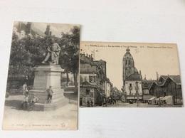 Lot De 2 Cpa : 37 - TOURS Rue Des Halles Tour De L'Horloge Monument De Balzac écrites - Tours