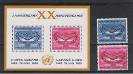 O.N.U.:  1965  XX°  ANNIVERSARIO  -  S. CPL. 2  VAL. + BL/FGL. N. -  MICHEL  154/55 + BL/FGL. 3 - Nuovi