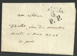 Maine Et Loire , Angers , Marque P . 47 . P . ANGERS Du 21 Floréal An 2 ( 10 Mai 1794) , Marque Paris P P Bonnet Frigien - Marcophilie (Lettres)