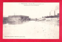 F-08-Charleville-12A30  Crue De La Meuse, Janvier 1910, Inondation De La Prairie De Montjoly, Les Ateliers Baudson, Cpa - Charleville