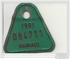 Belgique (Hainaut)   Plaque De Vélo 1991 - Number Plates