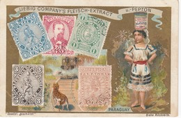 Trade Card (TC): Girl With Yeast  , & W/ Stamps , 1880-90s ; PARAGUAY - Paraguay