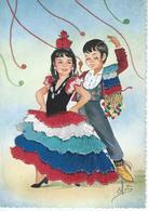 CPSM  - Costume  FOLKLORE  ANDALUCIA N° 6 -  Ajoutis De Tissu - Très Bon état - - Embroidered