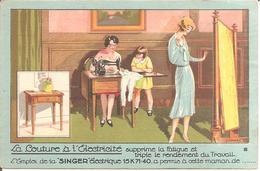 SAINT-CHAMOND (42) Carte Publicitaire Pour Cie SINGER , 67 , Rue De La République  (Carte Pas Courante) - Saint Chamond