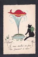 Illustrateur Rene 1er Premier Avril  Je Suis Soulevé De Joie En Pensant à Vous  .... Poisson Jet D'eau Chat Noir - Gatti