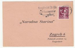 Narodna Starina Zagreb Preprinted Postal Card Travelled 1936 Bibliothek Warburg Hamburg To Yugoslavia B190401 - Briefe U. Dokumente