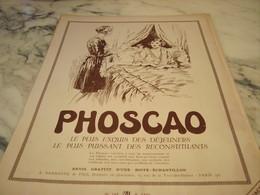 ANCIENNE PUBLICITE AU LIT  CHOCOLAT PHOSCAO   1930 - Affiches