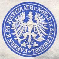 Salzwedel: Königlich Preussischer Justizrath Und Notar In Salzwedel - Kaehrn Siegelmarke - Cinderellas