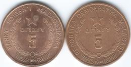 Madagascar - 5 Ariary - 1992 (KM17) & 1996 (KM23) - Madagascar