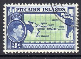Pitcairn GVI 1940-51 3d Pacific Ocean Map Definitive, Used, SG 5 - Stamps