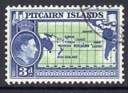 Pitcairn GVI 1940-51 3d Pacific Ocean Map Definitive, Used, SG 5 - Pitcairn Islands