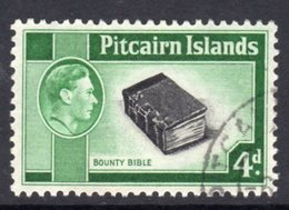 Pitcairn GVI 1940-51 4d Bounty Bible Definitive, Used, SG 5b - Stamps