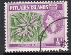 Pitcairn QEII 1957-63 ½d Flowering Plant Definitive, Green & Red-purple Shade, Used, SG 18a - Stamps