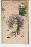 ENFANTS - LITTLE GIRL - MAEDCHEN - Jolie Carte Fantaisie Gaufrée Fillette Et Fleurs (embossed Postcard ) - Dessins D'enfants