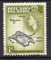 Pitcairn QEII 1957-63 1d Island Map Definitive, Black & Yellow-olive Shade, Used, SG 19a - Stamps