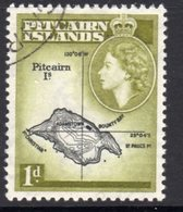 Pitcairn QEII 1957-63 1d Island Map Definitive, Black & Light Olive-green Shade, Used, SG 19b - Stamps