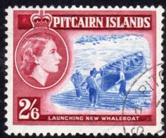 Pitcairn QEII 1957-63 2/6d Launching Whaleboat Definitive, Blue & Deep Lake Shade, Used, SG 28a - Stamps