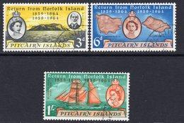 Pitcairn QEII 1961 Centenary Of Islanders' Return Set Of 3, Used, SG 29/31 - Stamps
