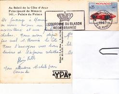 Carte Postale Flamme MONACO,MONTE CARLO + Couronne Du Blason Méditérranée  De 1967 Avec Timbres - Marcophilie