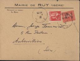 YT 283 264 Semeuse Lignée Congrès Du BIT 1930 CAD Ruy Isère ? 12 32 Arrivée Aubervilliers 9 XII 32 Flamme Poste Aérienne - Marcophilie (Lettres)