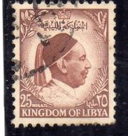 KINGDOM OF LIBYA REGNO UNITO DI LIBIA 1952  UNITED RE IDRISS KING IDRISS MILLS 25m USATO USED OBLITERE' - Libië