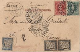 YT Chili Christophe Colomb 42 43 Tarif Imprimé + Valparaison Chile Recepcion 8 IX 02 Taxe France N°10 X2 + 28 Pour Corse - 1859-1955 Covers & Documents