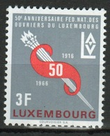 Luxembourg 1966 Single 3f Commemorative Stamp Celebrating 50th Anniversary Of Workers Union. - Luxembourg