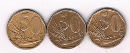 50 CENTS 2005+2006+2007 ZUID AFRIKA /2924/ - Afrique Du Sud