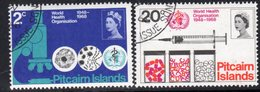 Pitcairn QEII 1968 20th Anniversary Of WHO Set Of 2, Used, SG 92/3 - Stamps