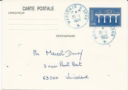 ENTIER POSTAL 1986 AVEC CACHET AMBULANT BLEU MARSEILLE A LYON - Postmark Collection (Covers)
