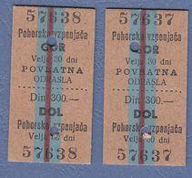 Slovenia Pohorska Vzpenjača-two Old Tickets-Cable Car Tickets - Biglietti D'ingresso