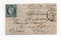 !!! PRIX FIXE : BALLON MONTE LE LAVOISIER CERTAIN POUR CAEN, AVEC TB TEXTE - Guerra De 1870