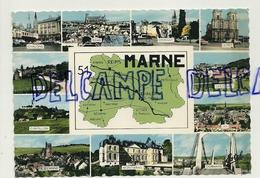 France. Marne. Carte Géographique Et Villes Principales. Editions ESTEL. Production Leconte - Cartes Géographiques