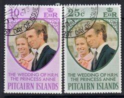 Pitcairn QEII 1973 Royal Wedding Set Of 2, Used, SG 131/2 - Stamps