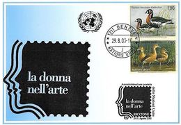 UNPA Genève 2003: CP Exposition RICCIONE Bernache à Coux Rouge (Branta Ruficollis) & Dendrocygne (Dendrocygna Bicolor) - Oies