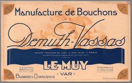 Le Muy (83 Var)  Buvard  DEMUTH VASSAS Fabrique De Bouchons  (PPP10464) - Vloeipapier