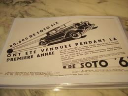 ANCIENNE PUBLICITE VOITURE DE SOTO SIX  1929 - Perfume & Beauty