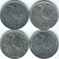 Malawi - 5 Tambala - 1989 (KM9.2a) 1995 (KM26) 1995 (KM32.1) & 2003 (KM32.2) - Malawi