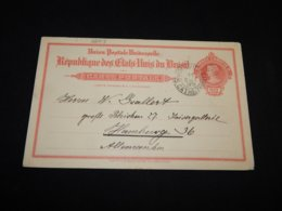 Brazil 1912 Joinville 100r Red Stationery Card To Germany__(L-26413) - Entiers Postaux