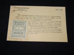 Denmark 1929 Radio Afgift 10kr Vignette Card__(L-28349) - 1913-47 (Christian X)