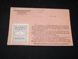 Denmark 1929 Radio Afgift 10kr Vignette Card__(L-28350) - 1913-47 (Christian X)