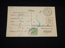 Denmark 1937 Hjulby Portomarken Card To Odense__(L-28228) - 1913-47 (Christian X)