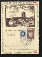 Lettre Carte Philatélique Numérotée Repiquée Lyon 1944 Le 09/12/1944 N°639 Et 668    Cachet Illustré B/TB   Soldé ! ! ! - ....-1949