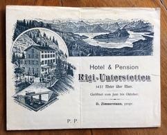 TEMATICA ALBERGHI HOTEL RIGI-UNTERSTETTEN  LETTERA COMPLETA DI DUE FOGLI A STAMPA INVIATA AI CLIENTI DAL PROPRIETARIO - Pubblicitari