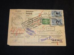 Germany 1922 Berlin-Oberschöneweide Parcel Card To Switzerland__(L-24181) - Briefe U. Dokumente