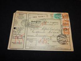 Germany 1928 Krefeld 3 Parcel Card To Switzerland__(L-24723) - Deutschland