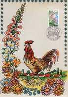 1978 - ENCART FLEURIR LA FRANCE - Coq Sur Soie - FDC